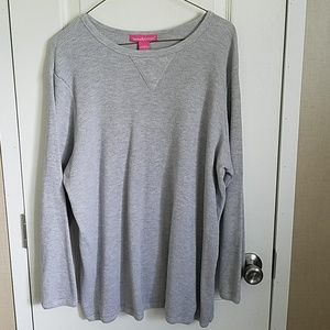 Gray thermal long sleeve tee.